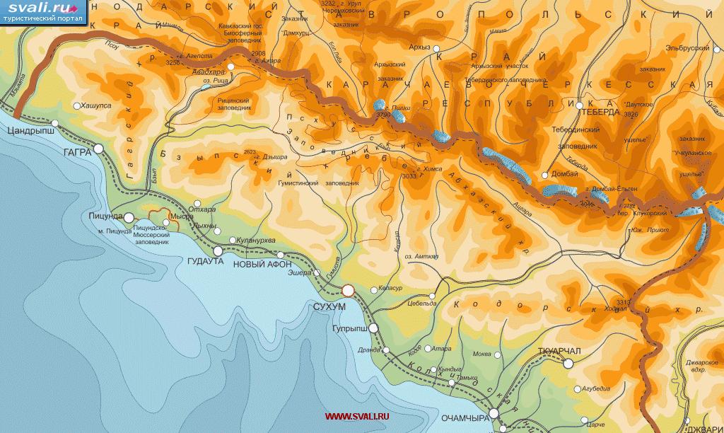 Карта Абхазии.
